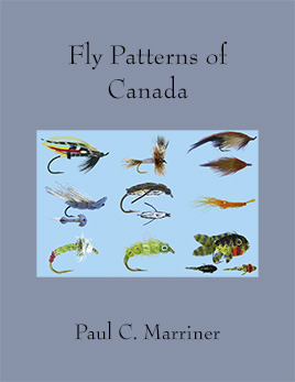 Cover image for Fly Patterns of Canada. Includes a collage of nine fly patterns.